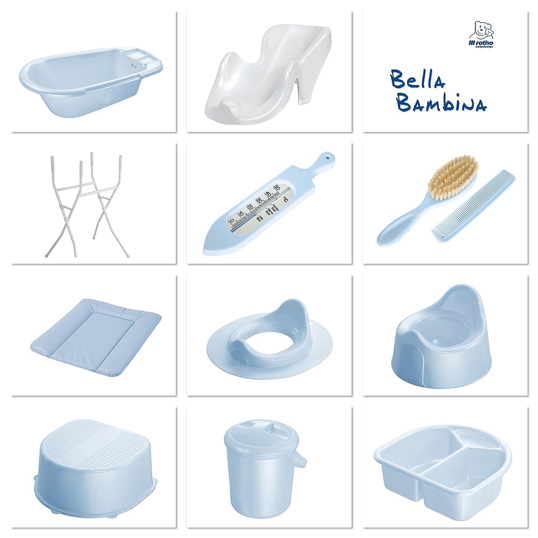 Light Blue Bella Bambina Baby Blue Pearl 200200103 With Drain Plug 0-12 Months Rotho Babydesign Bath Tub
