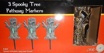 halloween 3 spooky trees pathway marker sensor activated lights and creepy sounds - Halloween Pathway Lights