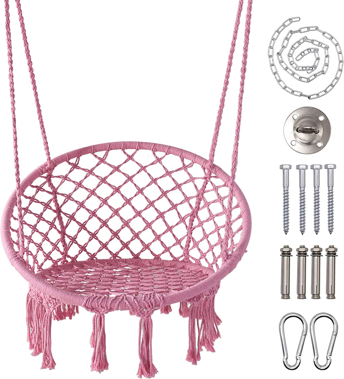 "LAZZO Hammock Chair with Hanging Kit and Chain, Cotton Rope Macrame Swing, 260Pounds Capacity, 20"" Width, for Indoor, Garden, Patio, Yard (Pink)"
