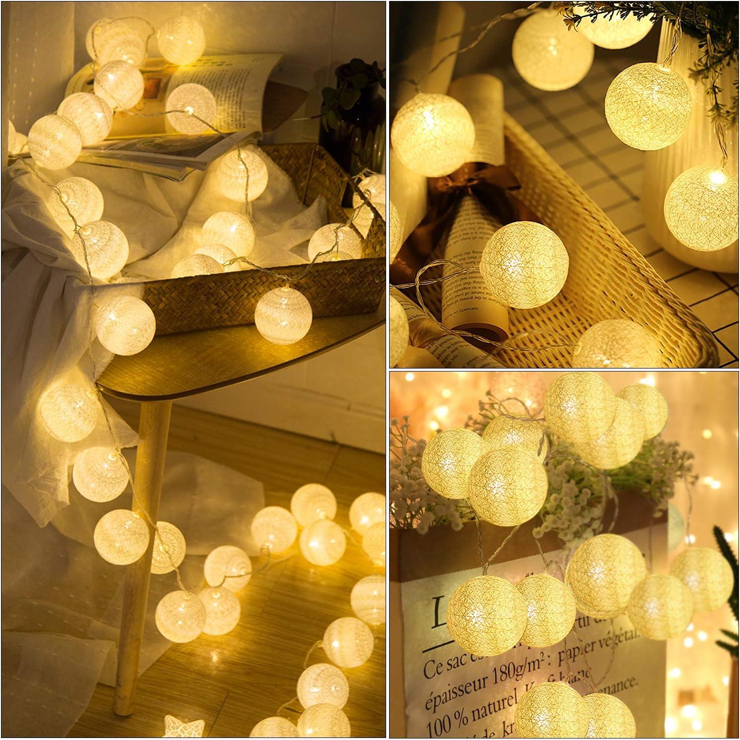 3M 20 LEDs Guirnalda Luminosa de Bolas de algod/ón Cadena de Luces Bolas de Algod/ón Resistente al agua Guirnalda luminosa Bolas de algod/ón LED blanco c/álido Operado con pilas