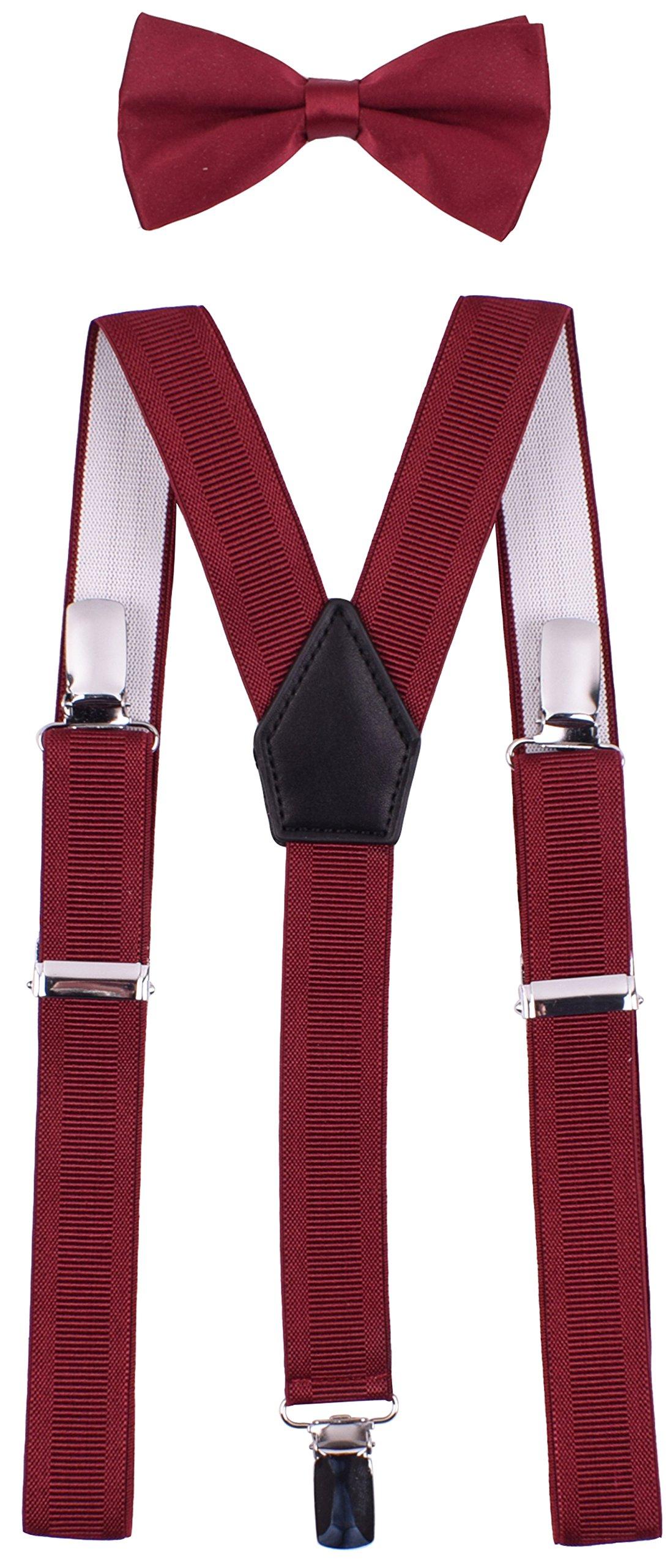 YJDS Kids Suspender Bowtie Sets Classic Y Back Burgundy Thread 22''