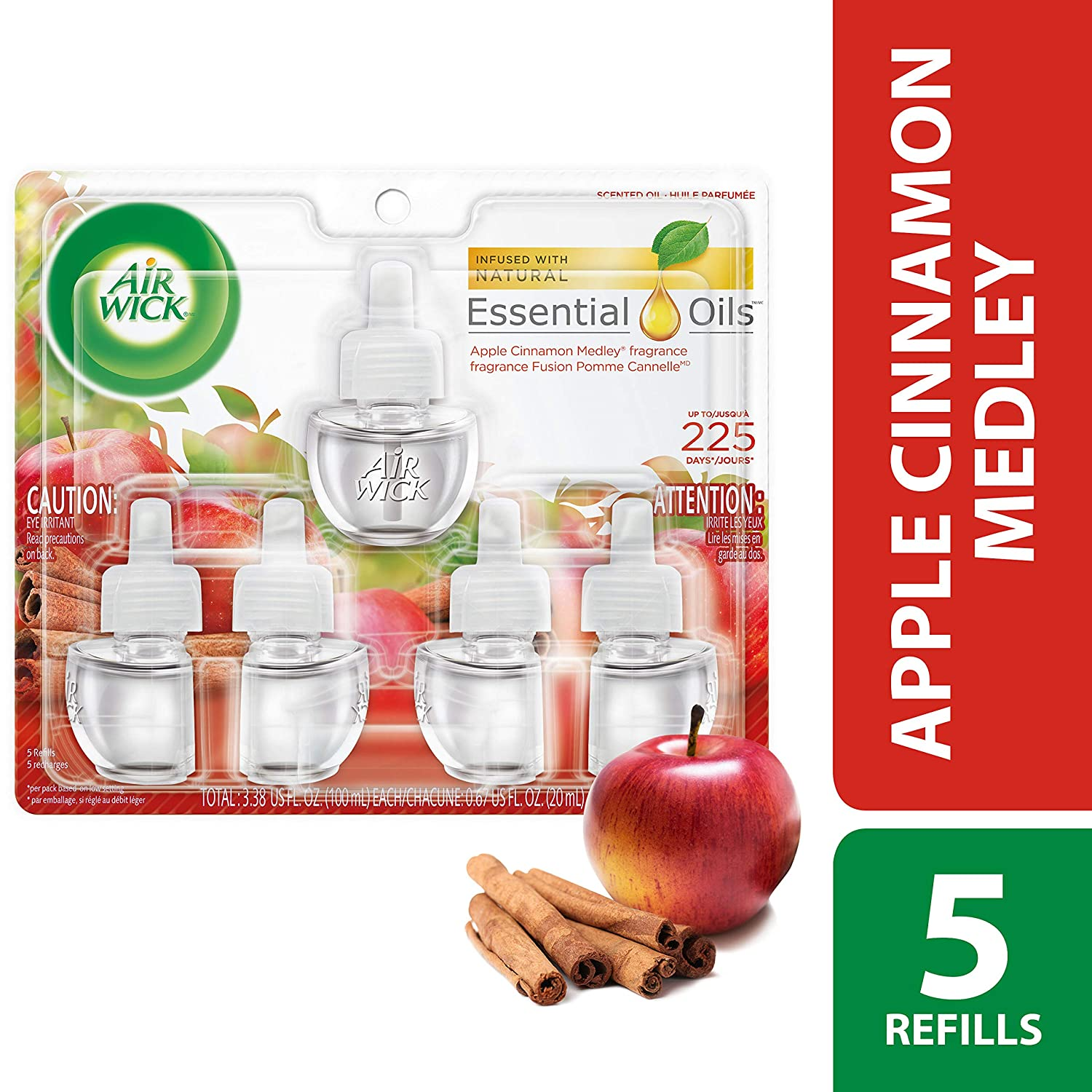 Air Wick Scented Oil 5 Refills, Apple Cinnamon Medley, Each 0.67 fl. oz. H&PC-74507