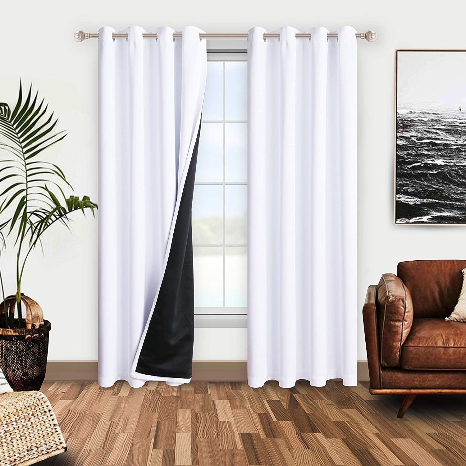 WONTEX 100% White Blackout Curtains for Bedroom - Thermal Insulated, Energy Saving and Noise Reducing Lined Window Curtain Panels for Living Room, 52 x 72 inch, Set of 2 Grommet Curtains