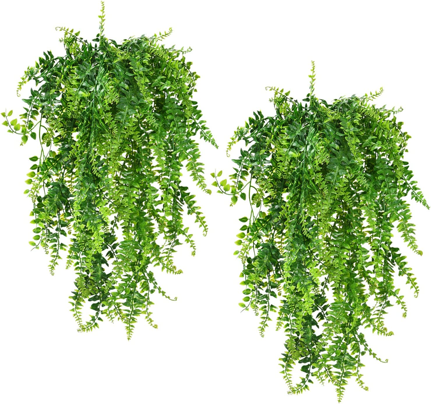 Artificial Hanging Plants Vines Ferns Persian Rattans, Greenery Hanging Queen Boston Ivy with UV Resistant Performance for Safari Jungle Party Wedding Hanging Basket Decor, 32