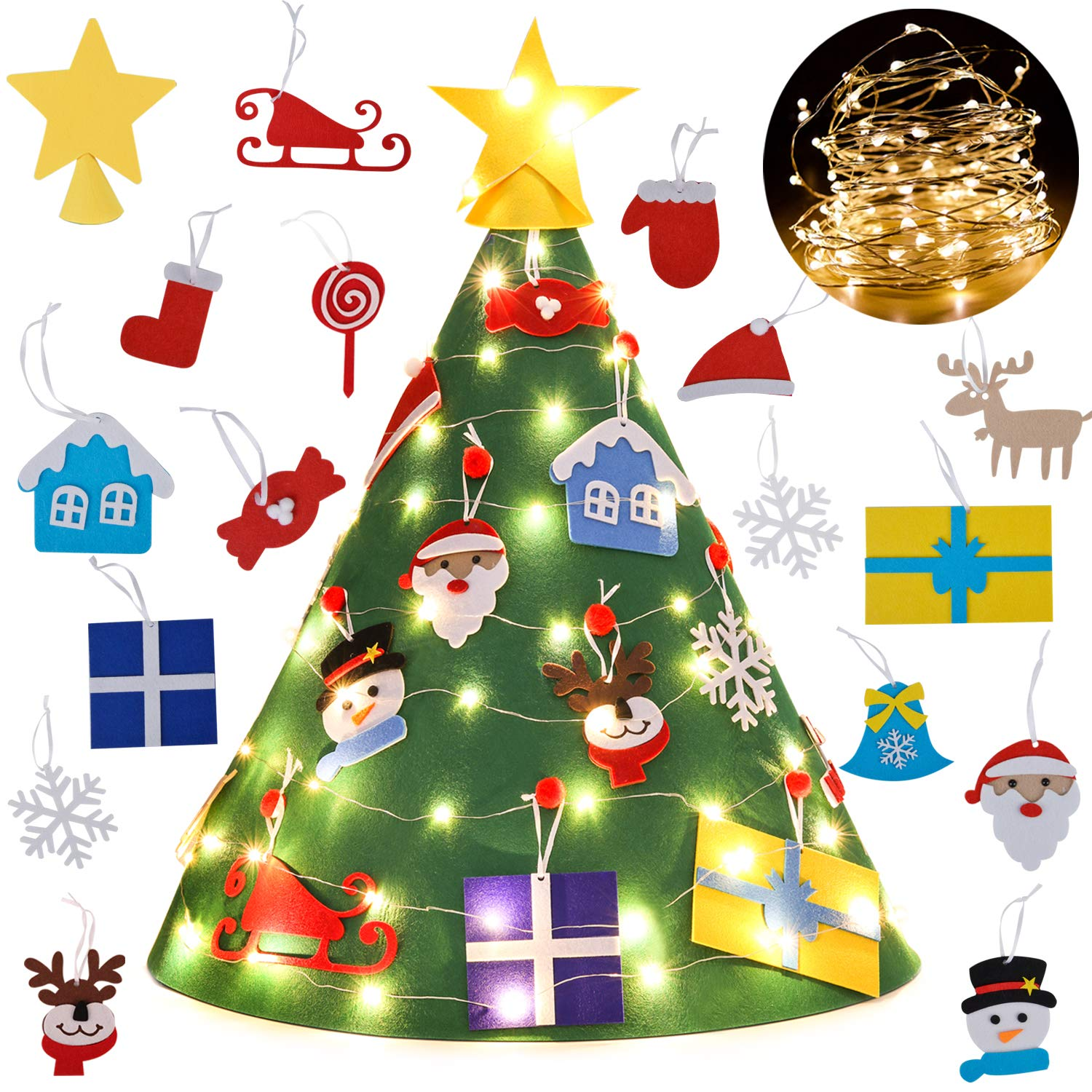 3D DIY Felt Christmas Tree Set with 18Pcs  and lites