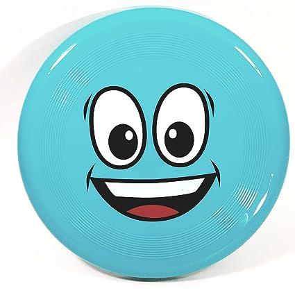 Amazon Com Emoji Flyer Blue Smiley Face Frisbee Flying Round Disc