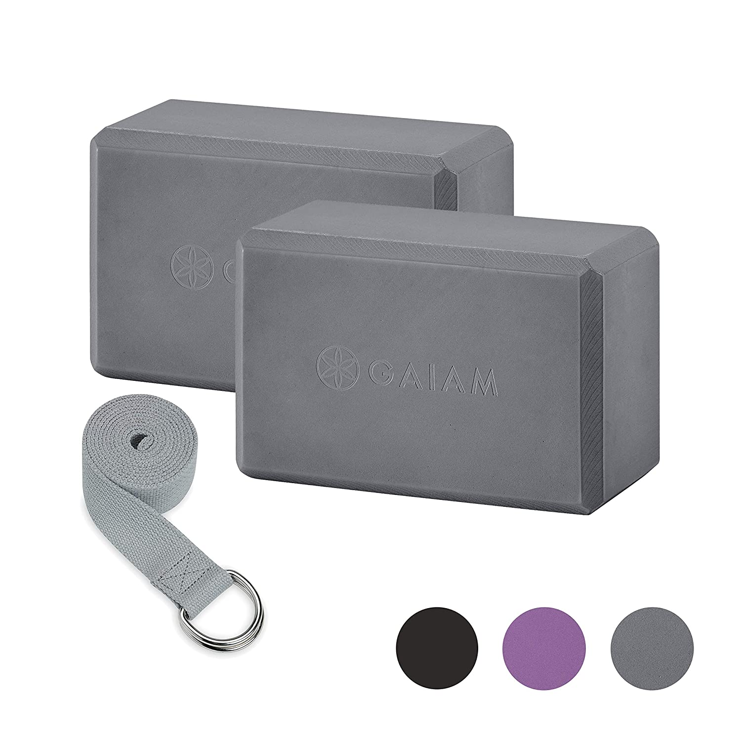 Gaiam Essentials Yoga Block 2 Pack   Yoga Strap Set