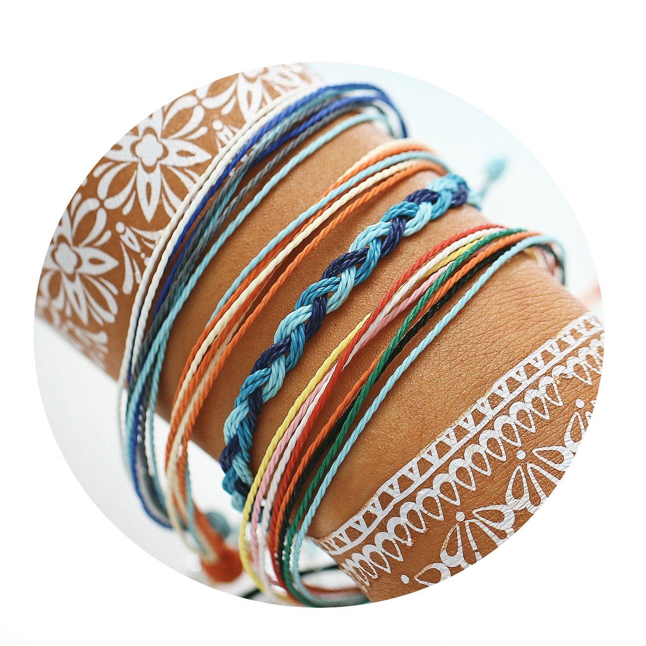 17mile Braided Rope Bracelet Set Handmade Waterproof Wrap Bracelet String Bracelet for Woman Kids