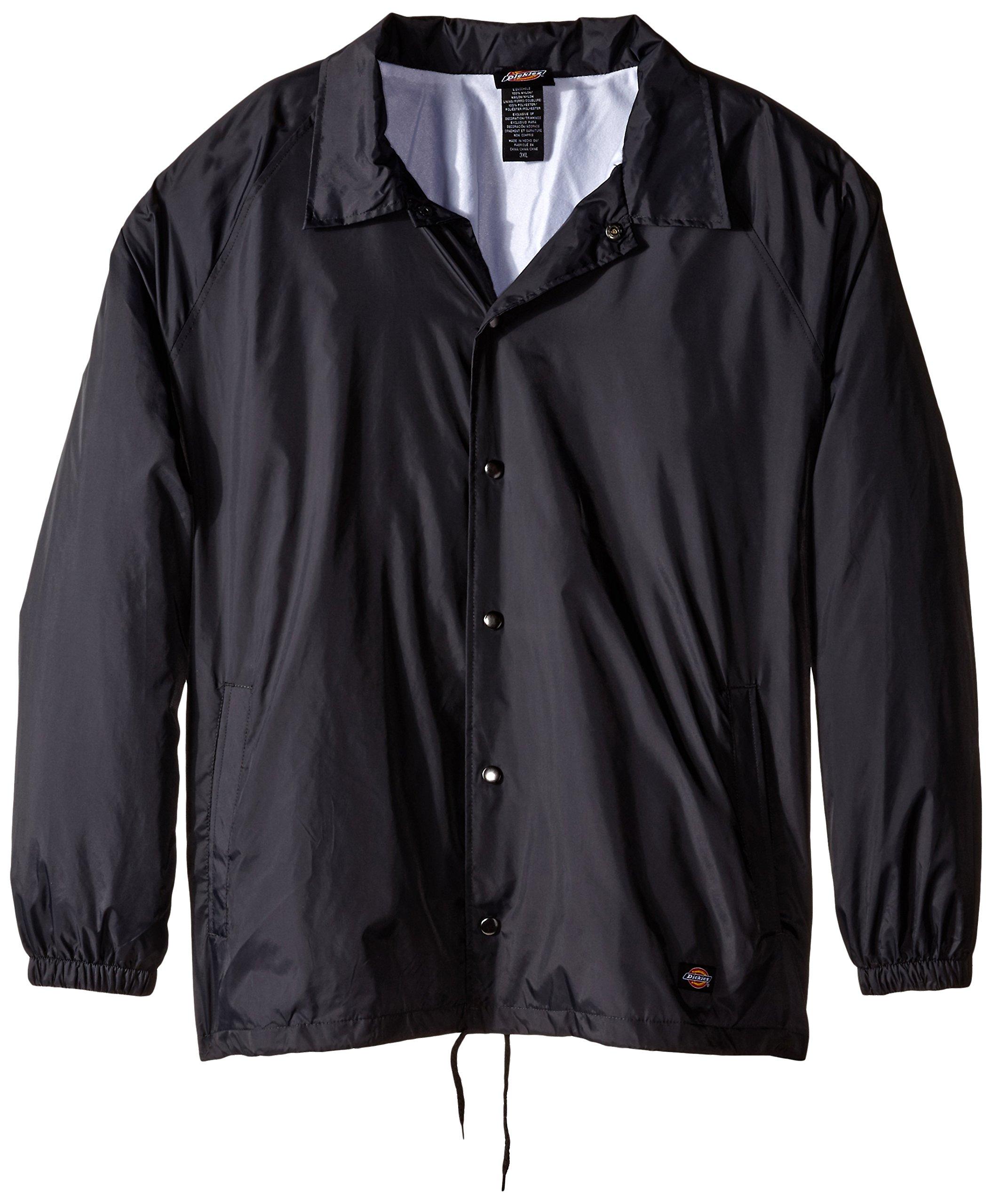 Dickies Men's Big Snap Front Nylon Jacket, Charcoal, 5X