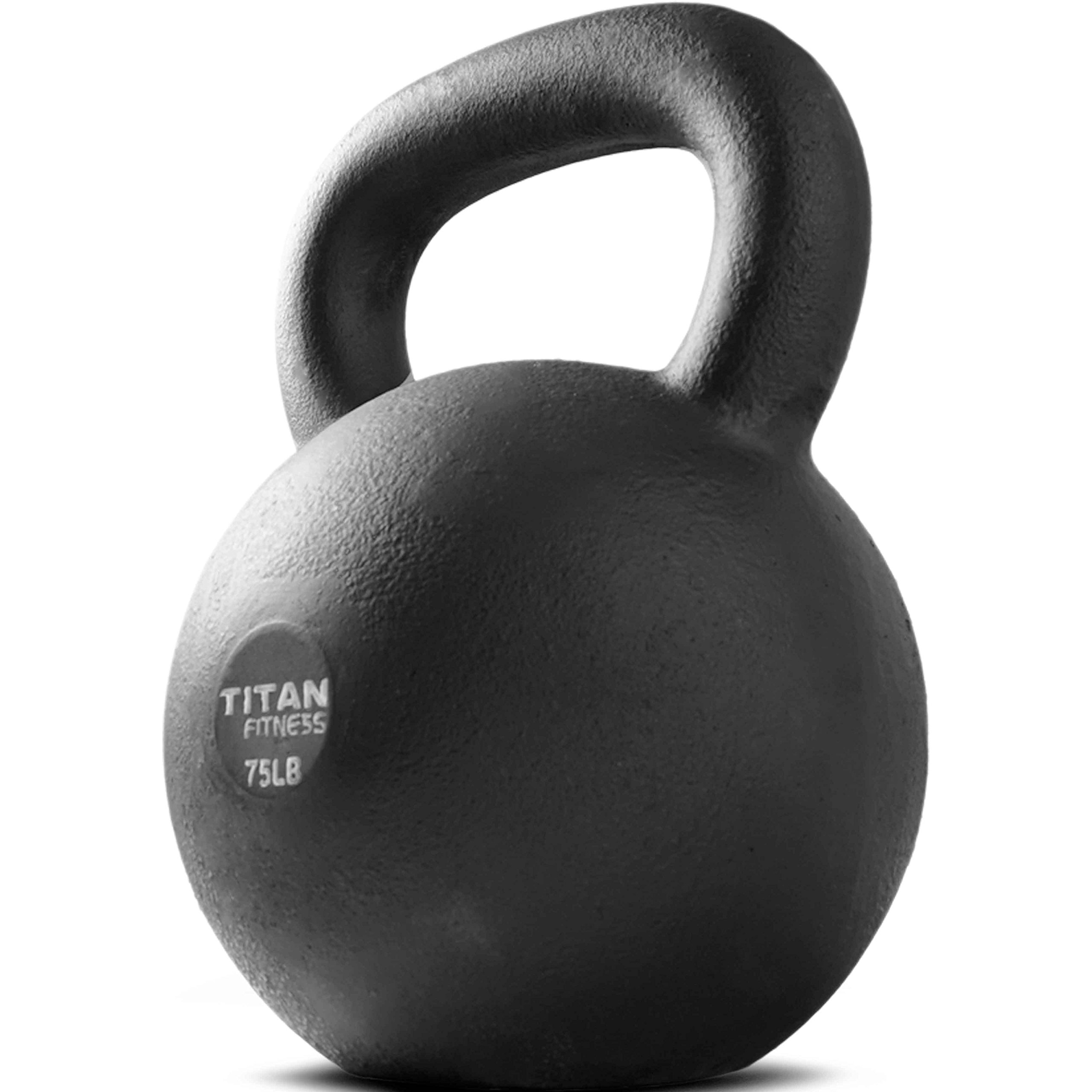 Cast Iron Kettlebell Weight 75 lb Natural Solid Titan Fitness Workout Swing