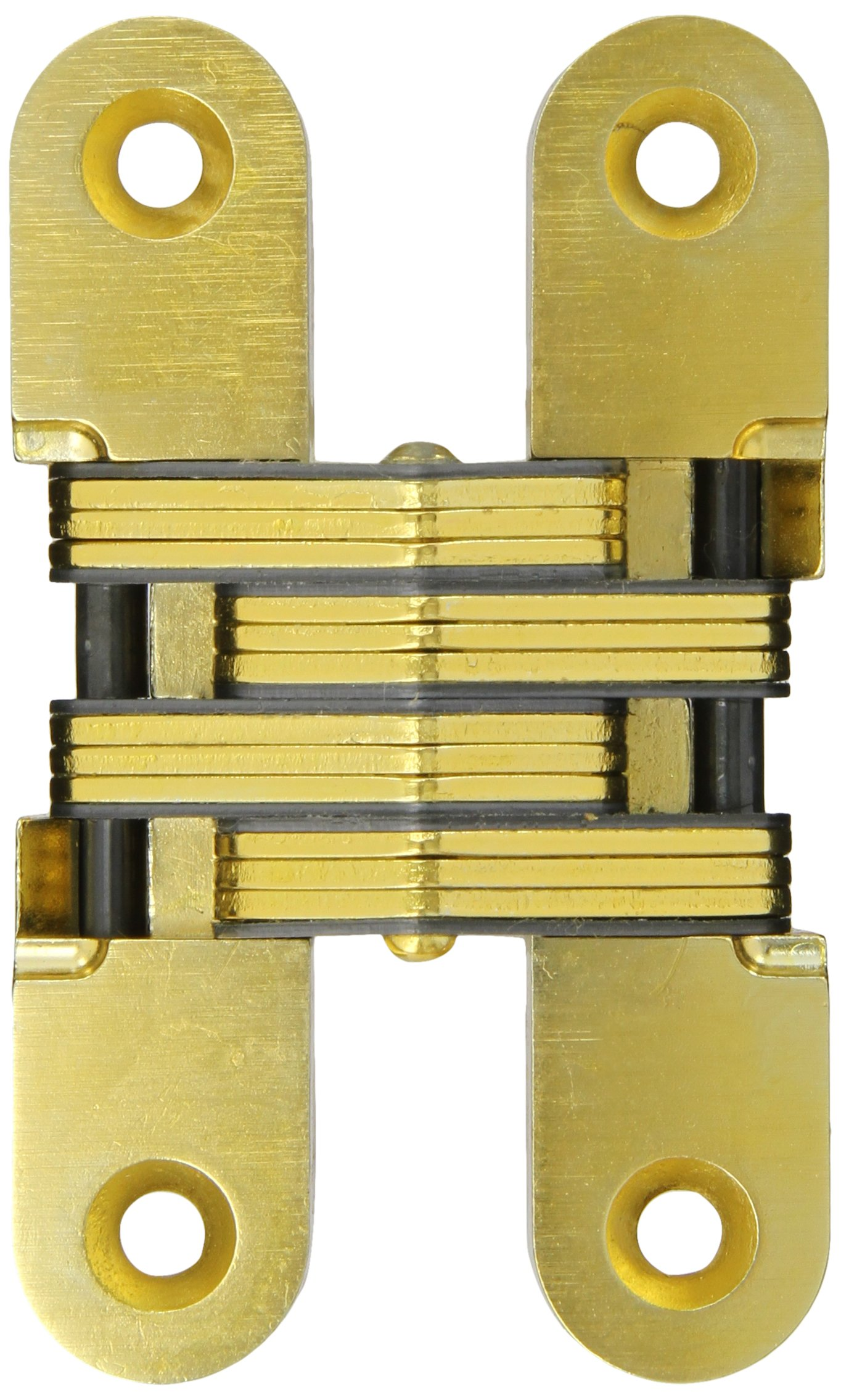 SOSS Mortise Mount Invisible Hinge with 4 Holes, Zinc, Satin Brass Finish, 4-5/8'' Leaf Height, 1'' Leaf Width, 1-7/16'' Leaf Thickness, 14 x 1-1/2'' Screw Size