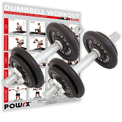 POWRX Mancuernas Hierro Fundido 20 kg Set (2 x 10 kg) + PDF Workout