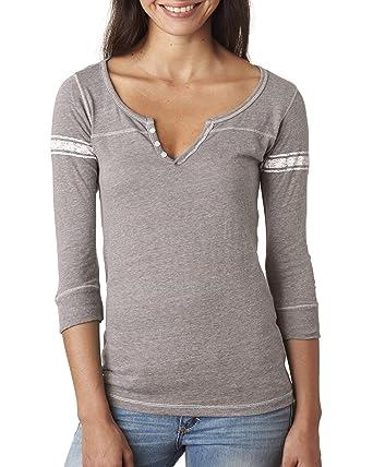 08755b27 MV Sport Ladies' Hailey 3/4-Sleeve Henley at Amazon Women's Clothing store: