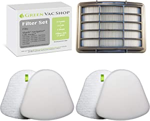 GreenVacShop 2+1 Pack Shark Navigator Lift-Away NV350, NV351, NV352, NV355, NV356E, NV357, NV360, NV370, NV391, UV440, UV490, UV540 Replacement Filter Set, 2 Foam+2 Felt+1 HEPA Filters, XFF350 XHF350