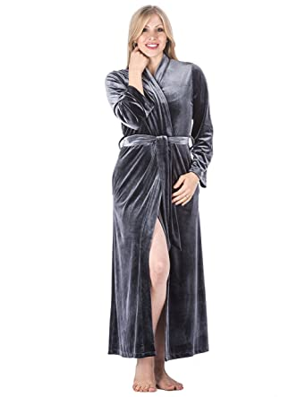 Noble Mount Womens Royal Velvet Robedressing Gown Dark Grey M