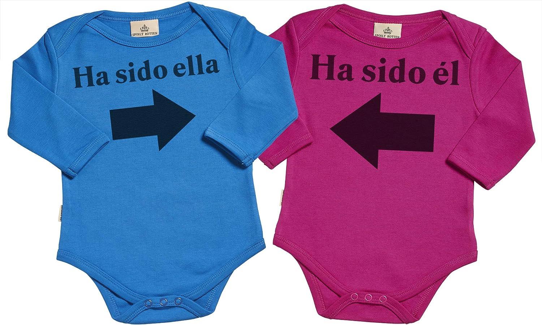 Spoilt Rotten SR - Estuche de presentación - Ha Sido él & Ha Sido Ella - Conjunto Gemelo - Body para bebé niño - Body para bebé niña - Conjunto Regalo del bebé - Negro