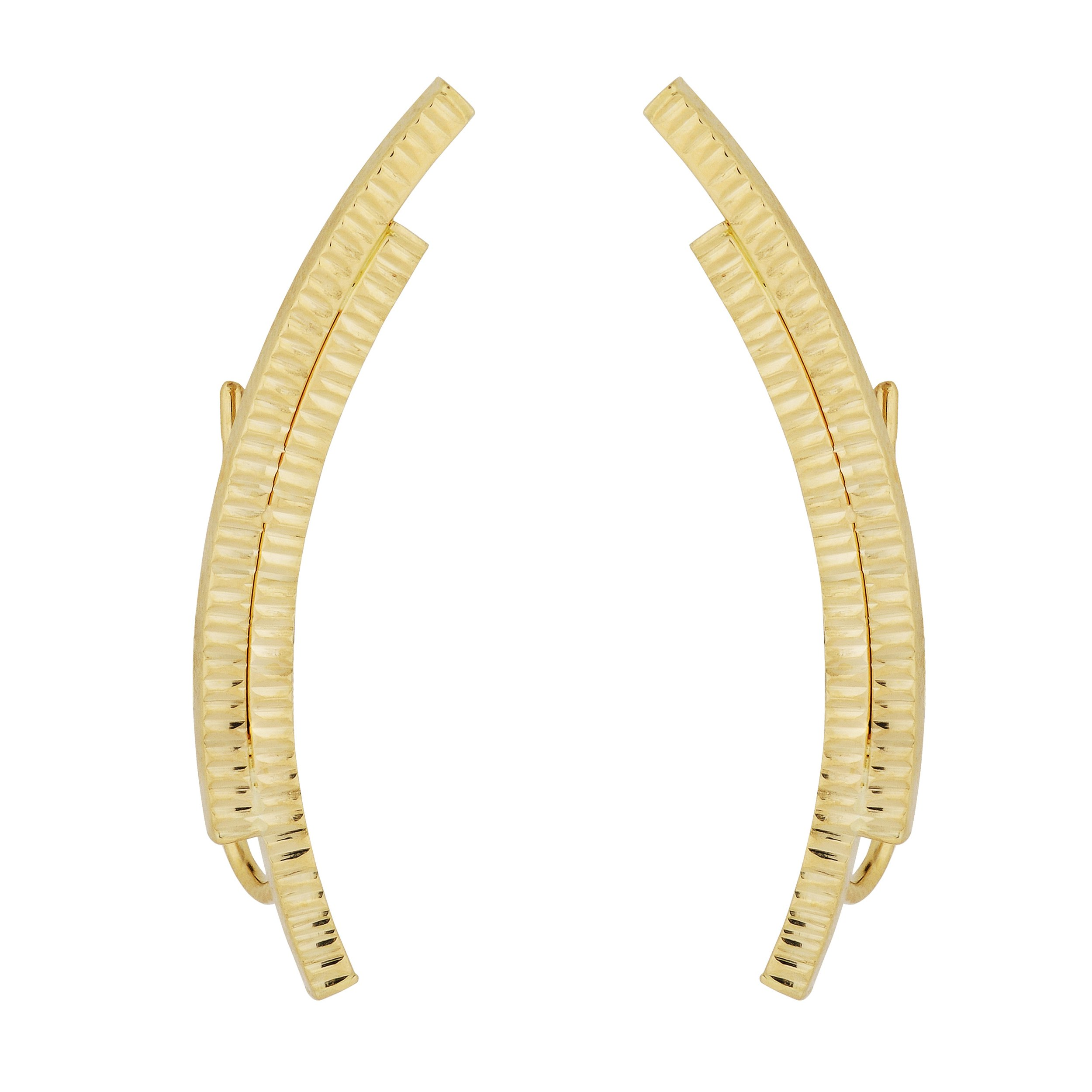14k Yellow Gold Double Curved Bar Climber Earrings