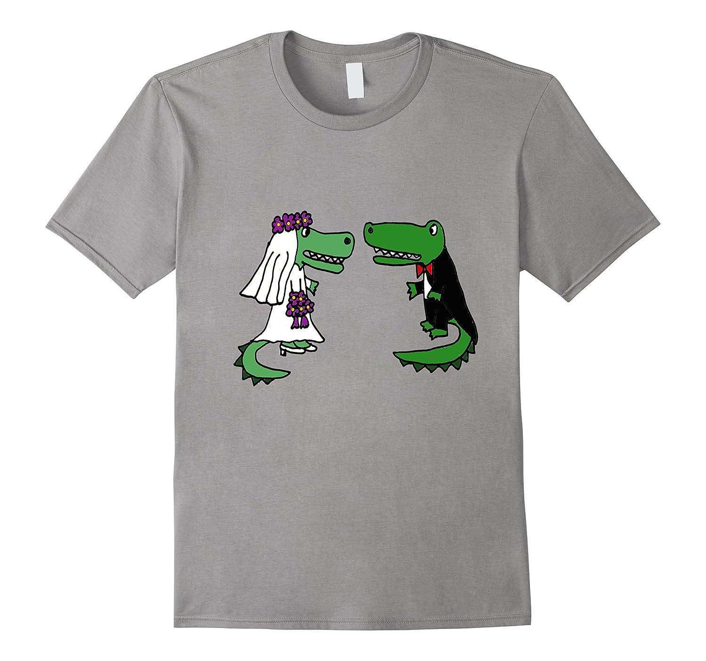 Smiletodaytees Fun Bride and Groom Alligator Wedding T-shirt-Vaci
