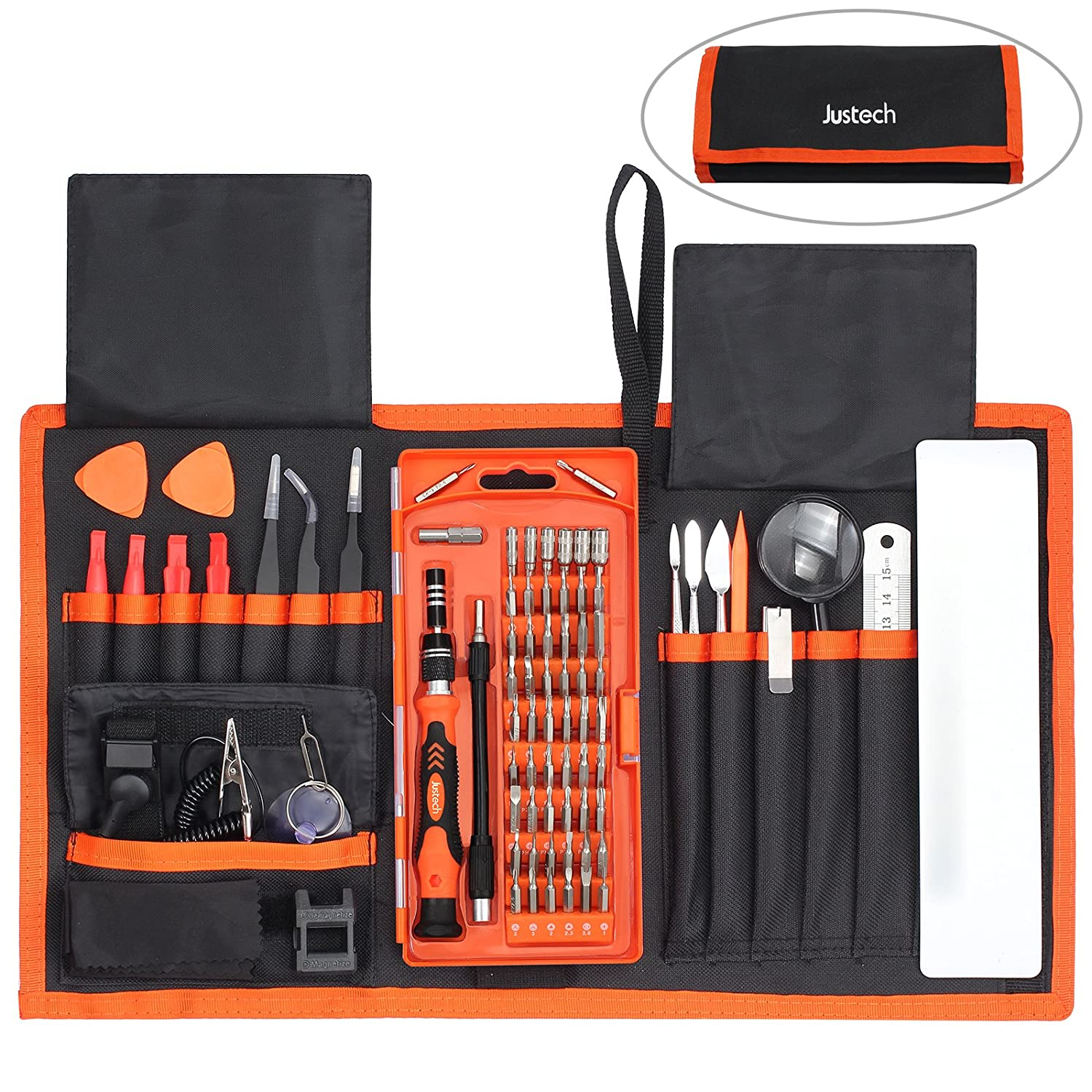 Justech Precision Screwdriver Set 82 in 1 Magnetic Mini Portable with 56 Bits Precision Driver Repair Tool for Portable Box For iPad iPhone Laptops PC Smartphones Watches and Other Devices-Orange