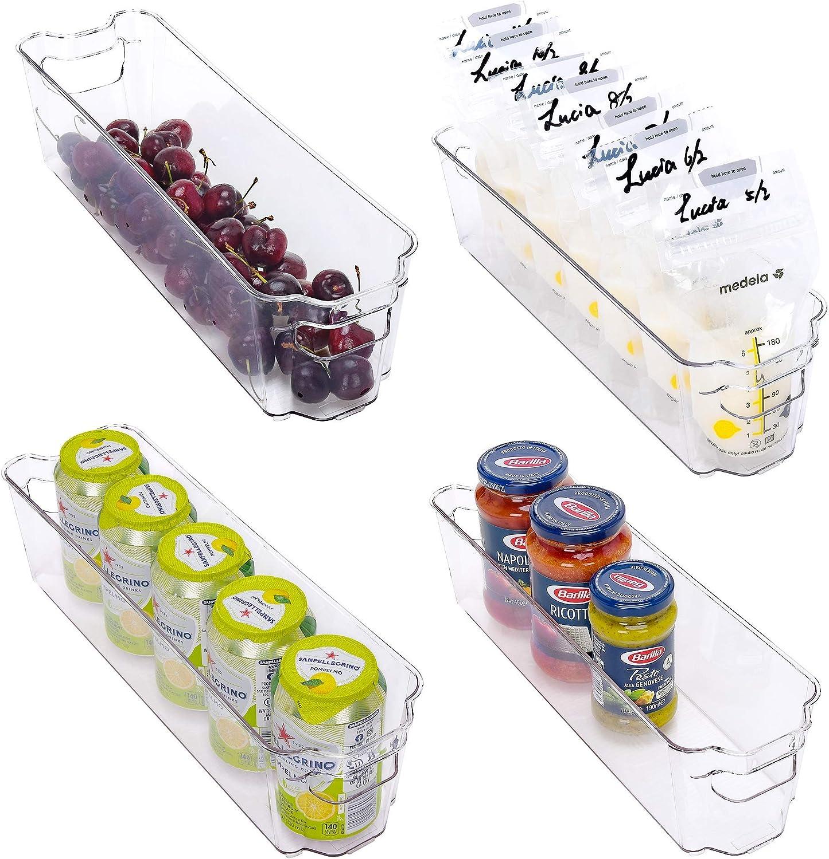 StorageWorks Narrow Stackable Refrigerator Storage Bins, Small Plastic Storage Bins for Freezer and Pantry, Fridge Door Organizer Bins with Handles, BPA-Free, 14.7