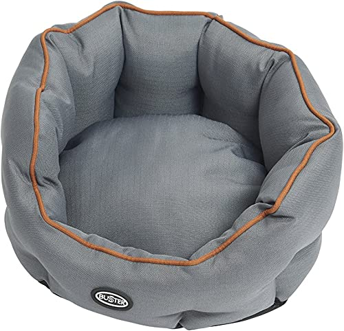 Kruuse Buster Cocoon Bed, Steel Grey Leather Brown Piping, 18