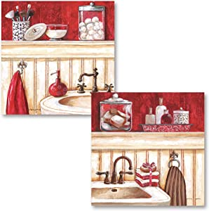 Popular Red Beige and Brown Bathroom Still Life Scenes; Two 12x12in Prints