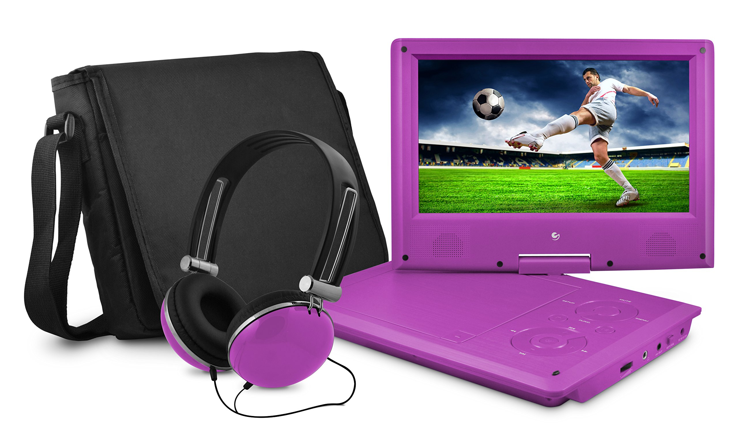 Ematic Portable DVD Player with 9-inch LCD Swivel Screen, Travel Bag and Headphones, Purple