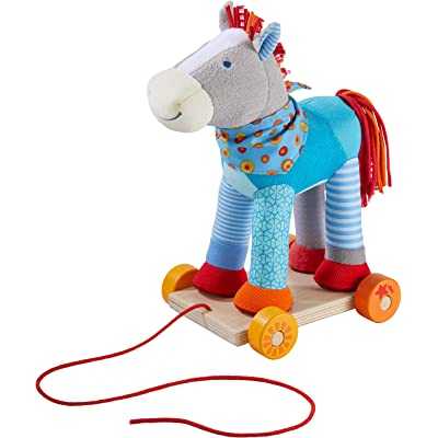HABA Horse Bluey Pull Toy - Colorful Patchwork Soft Cuddly Pony Can be Enjoyed On or Off The Wooden Base with Wheels & Pull String: Toys & Games
