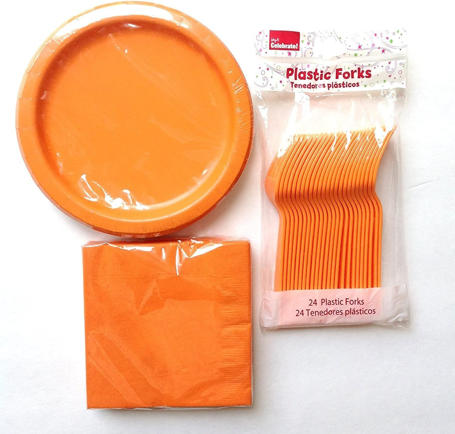 Classic Orange Party Supply Pack for 24 Guests- Plates, Napkins, Forks by Walmart