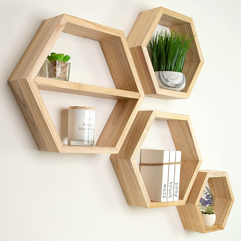 Hexagon Floating Shelves - Large Set of 4 - Honeycomb Shelves - Octagon Shelves - Wall Hanging Shelves Honeycomb Decor - Wooden Honey Comb Hexagon Shelf for Wall - Geometric Hexagonal Natural Wood