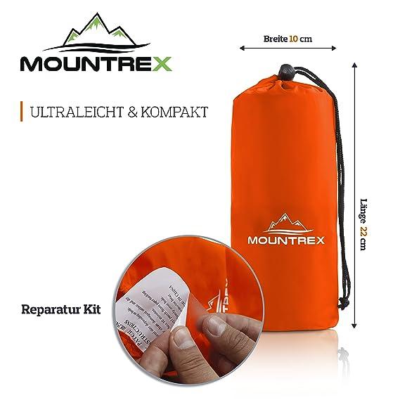 Colchoneta hinchable de Mountrex, estera aislante para camping, ultraligera y robusta, colchón de aire para interior y exterior, incluye Kit de reparación, ...