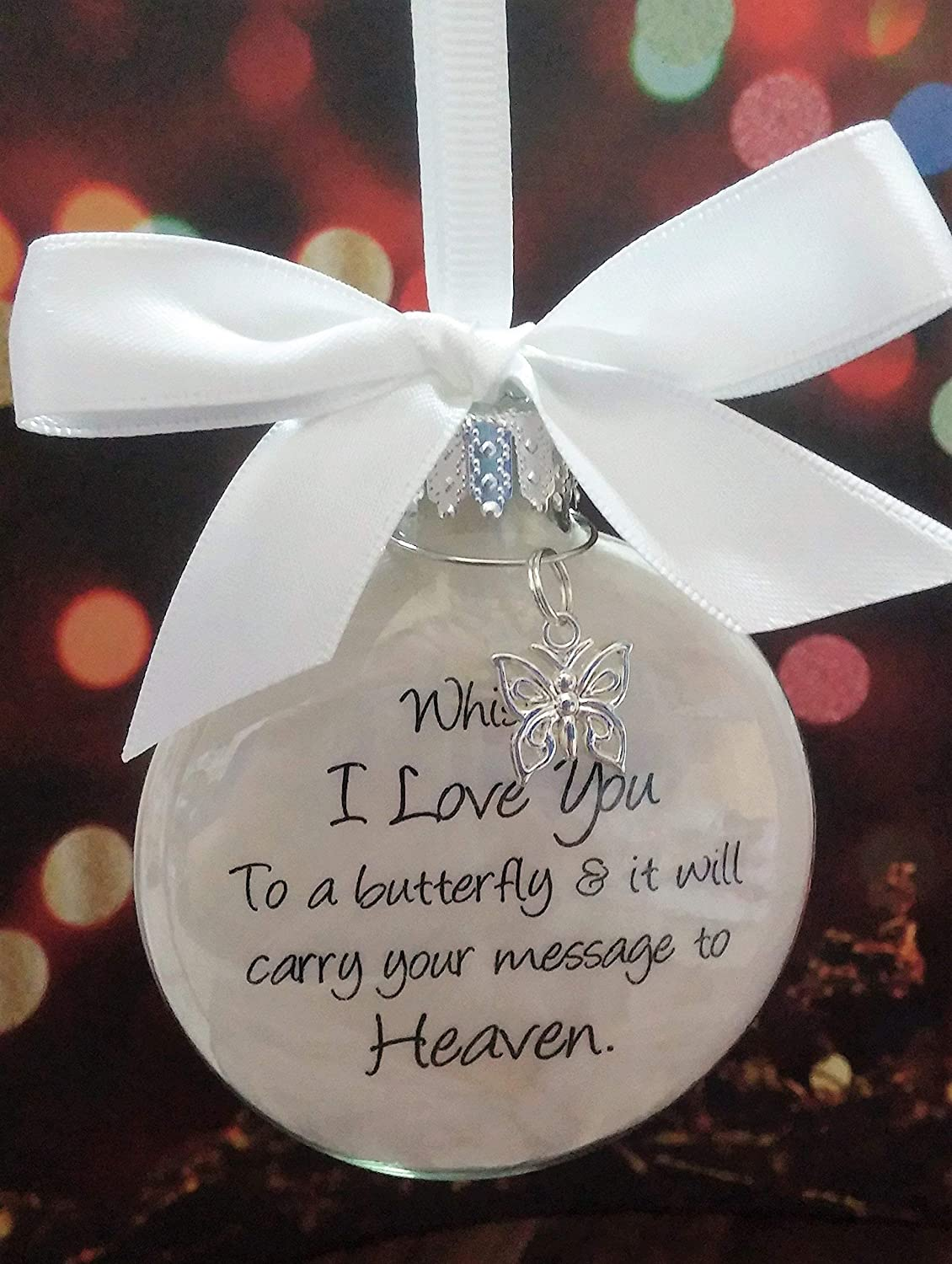 Bereavement Gift Christmas Sympathy Gift Condolence Gift Signs from Heaven Lost Loved One Magenta Butterfly Memorial Ornament