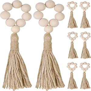 Eiqer 8pcs Wood Bead Napkin Rings, Rustic Farmhouse Beaded Napkin Rings with Tassels Beads Garland Wall Decor for Weddings Home Table Decoration