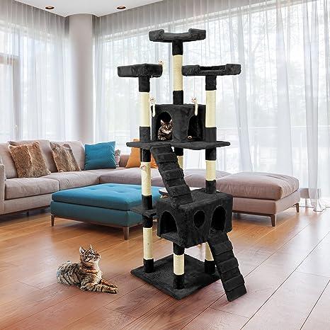 Wintem tiragraffi de 170 cm con caseta para Gatos Árbol Parque Juegos Juegos Tira arañazos para