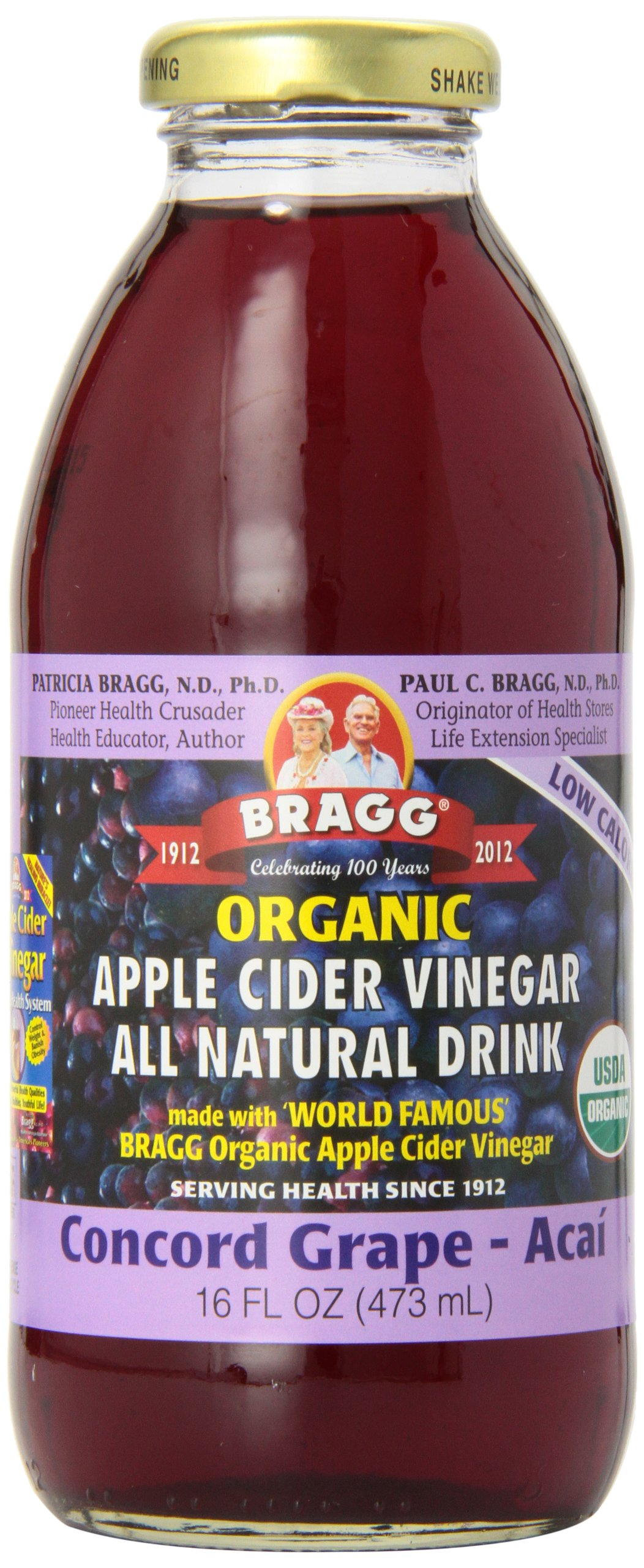 Bragg Apple Cider Vinegar Drink, Concord Grape & Acai, 16-ounces (Pack of6)
