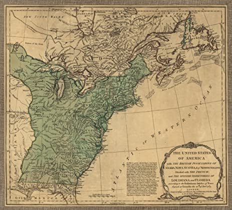 Amazoncom 1783 map of Paris Treaty of 1783 The United States of