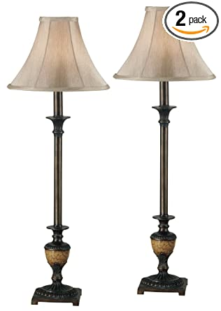 kenroy home emily buffet lamp 2 pack crackle bronze
