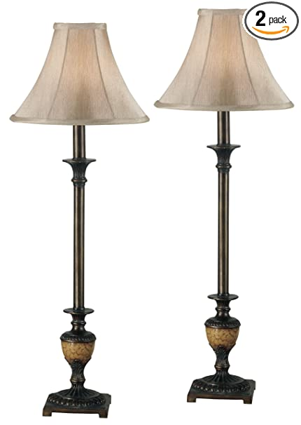 Kenroy Home 30944 Emily Buffet Lamp, 2 Pack, Crackle Bronze