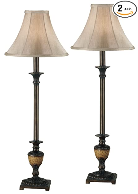 Kenroy Home 30944 Emily Buffet Lamp 2 Pack Crackle Bronze