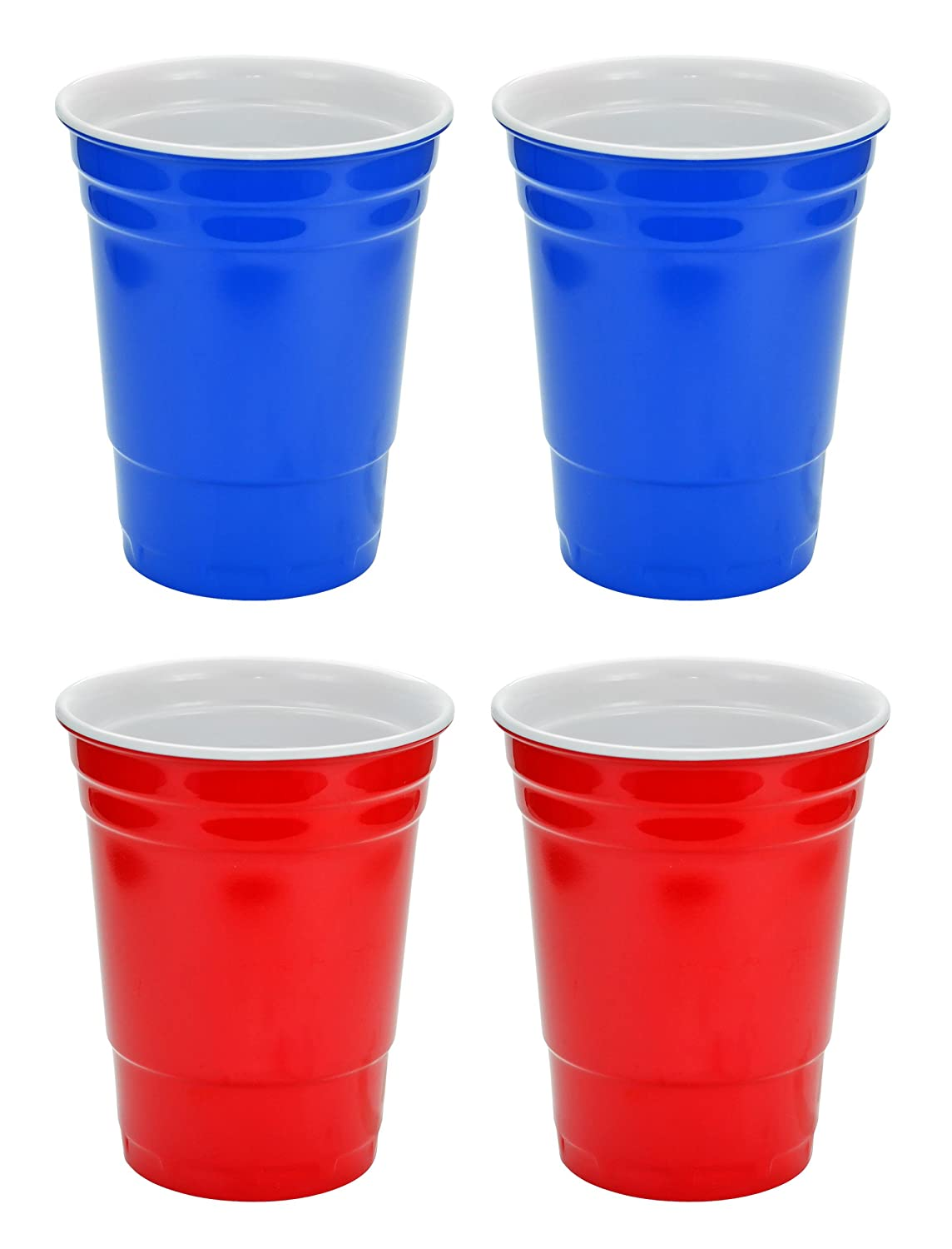 Fairly Odd Novelties 16oz Red and Blue Cup Made Out Of Melamine 4 Pack Living It Large Drink Solo or With A