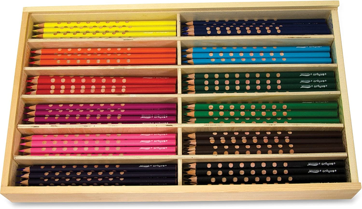 Prang Groove 3.3mm Presharpened Core Colored Pencils, Set of 144 Pencils, 12 Each of 12 Assorted Colors with Wooden Storage Box (28144) by Prang