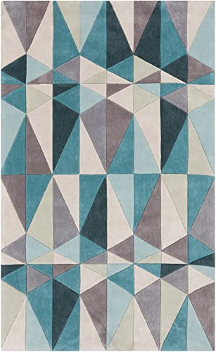 Surya Cosmopolitan COS-9169 Transitional Hand Tufted 100 Polyester Teal Blue 8 x 11 Geometric Area Rug