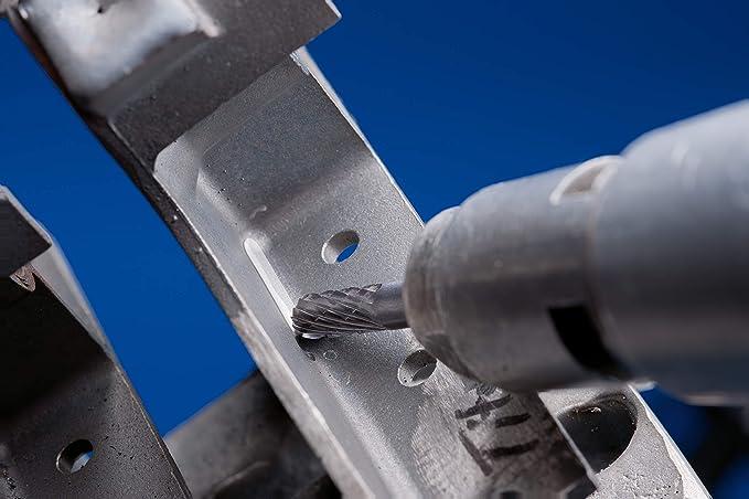 Flammenform B 21203633 Fr/ässtift-/ø 6mm Schaft-/ø 3mm f/ür universelle Anwendungen auf den wichtigsten industriell verwendeten Werkstoffen L/änge 43mm PFERD HM-Fr/ässtift Zahnung 3 PLUS