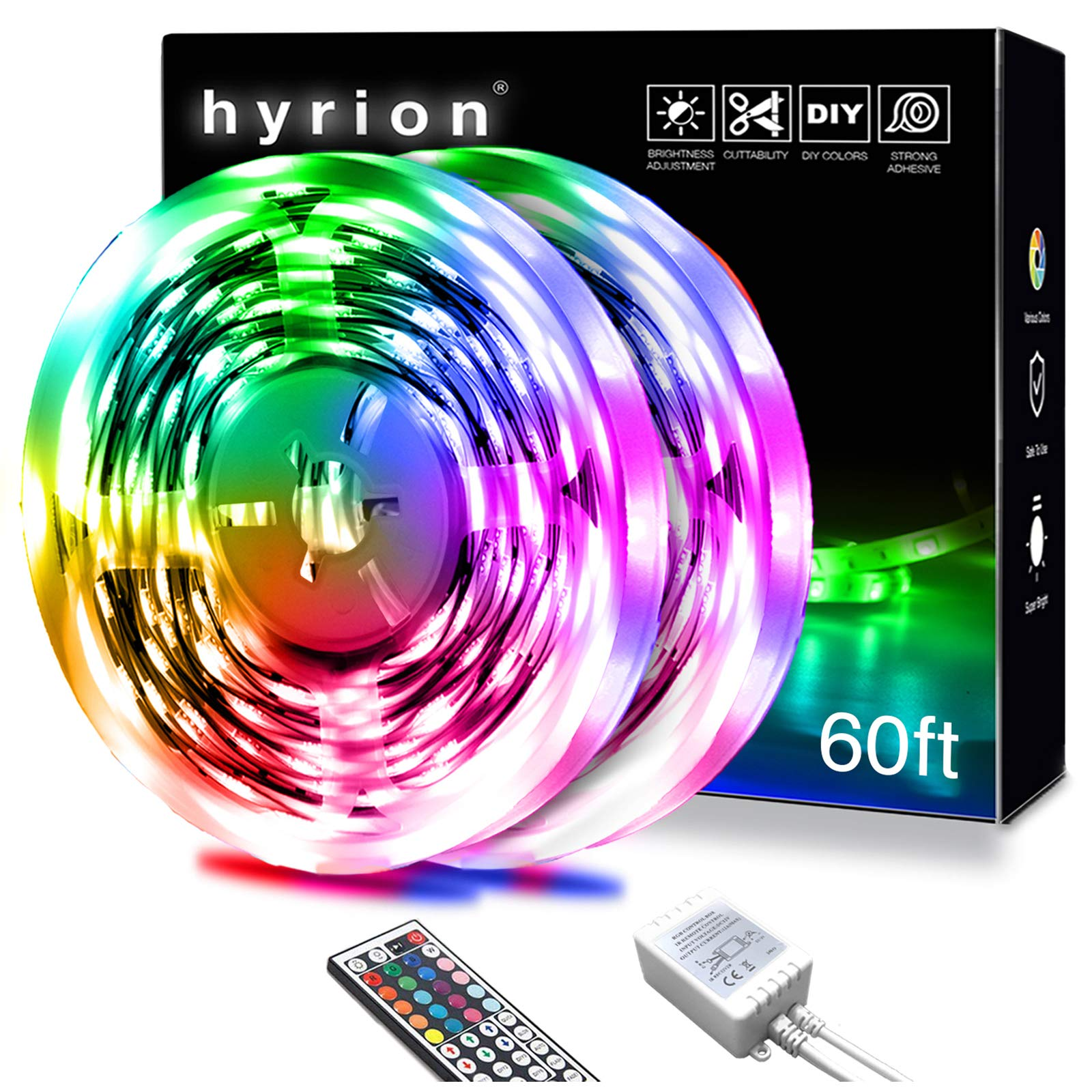 60 ft Led Strip Lights,Hyrion Ultra Long SMD 5050 Led Lights Strip with 44 Key Remote,12 Volt Dimmable RGB Color Changing Led Lights for Bedroom,Living Room,Kitchen,Home Decor(44 Key Remote+30ft2)