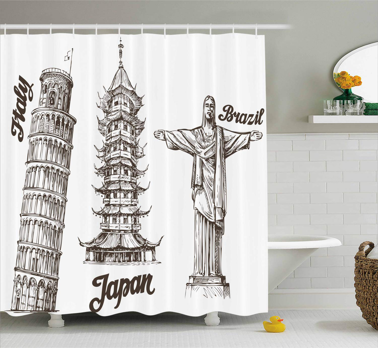 Amazon Ambesonne Travel Shower Curtain Leaning Tower Of Pisa