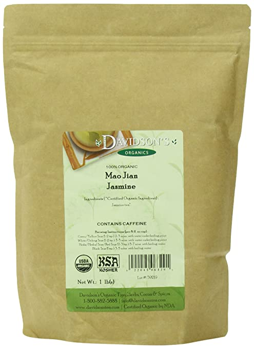 Davidson's Organic Tea Bulk, Mao Jian Jasmine, 16-Ounce Bag Bag