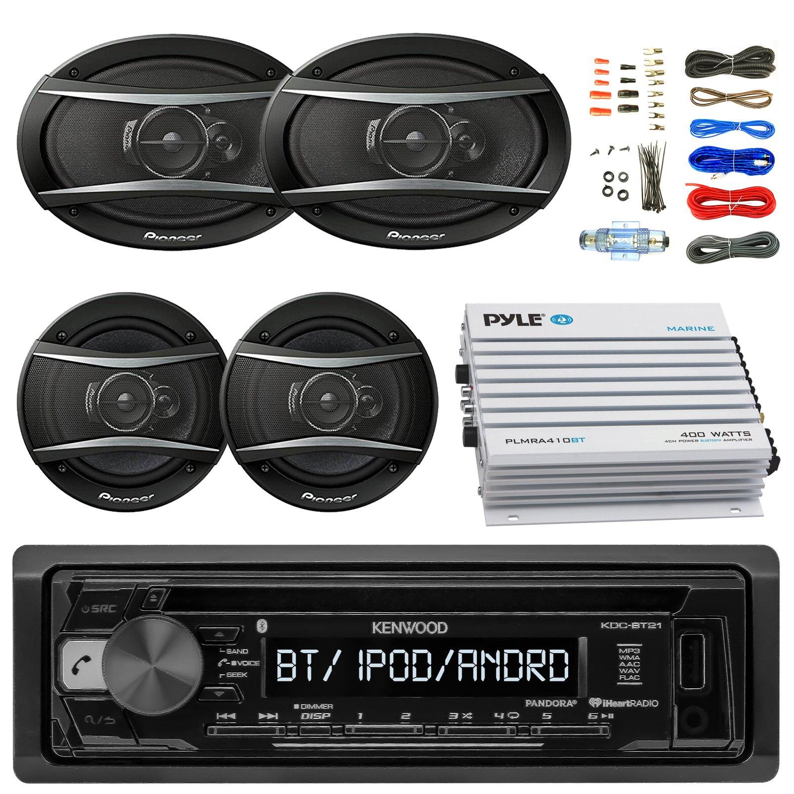 Kenwood KDCBT21 Car Bluetooth Radio USB AUX CD Player Receiver - Bundle With 2x TSA1676R 6.5'' 3-Way Car Audio Speakers - 2x 6.5''-6.75'' 4-Way Stereo Speaker + 4-Channel Amplifier + Amp Kit