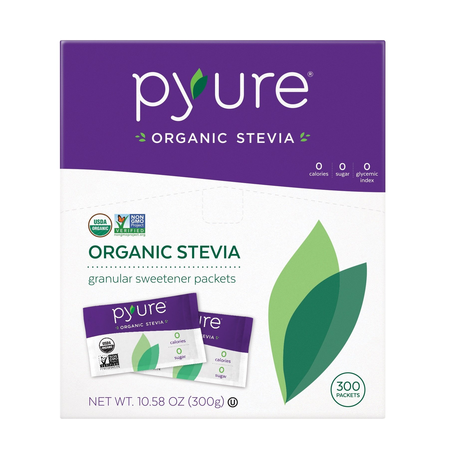 Organic Stevia Sweetener Packets, 0 Calorie, Sugar Substitute, 300Count by Pyure (Image #1)