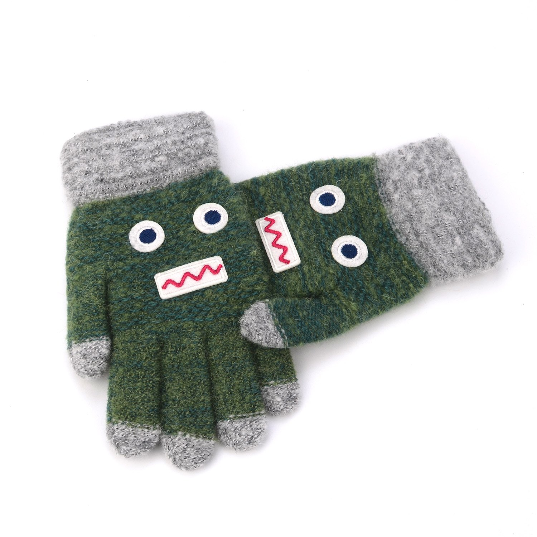 Flammi Kids Knit Gloves Cartoon Robot Full Finger Gloves