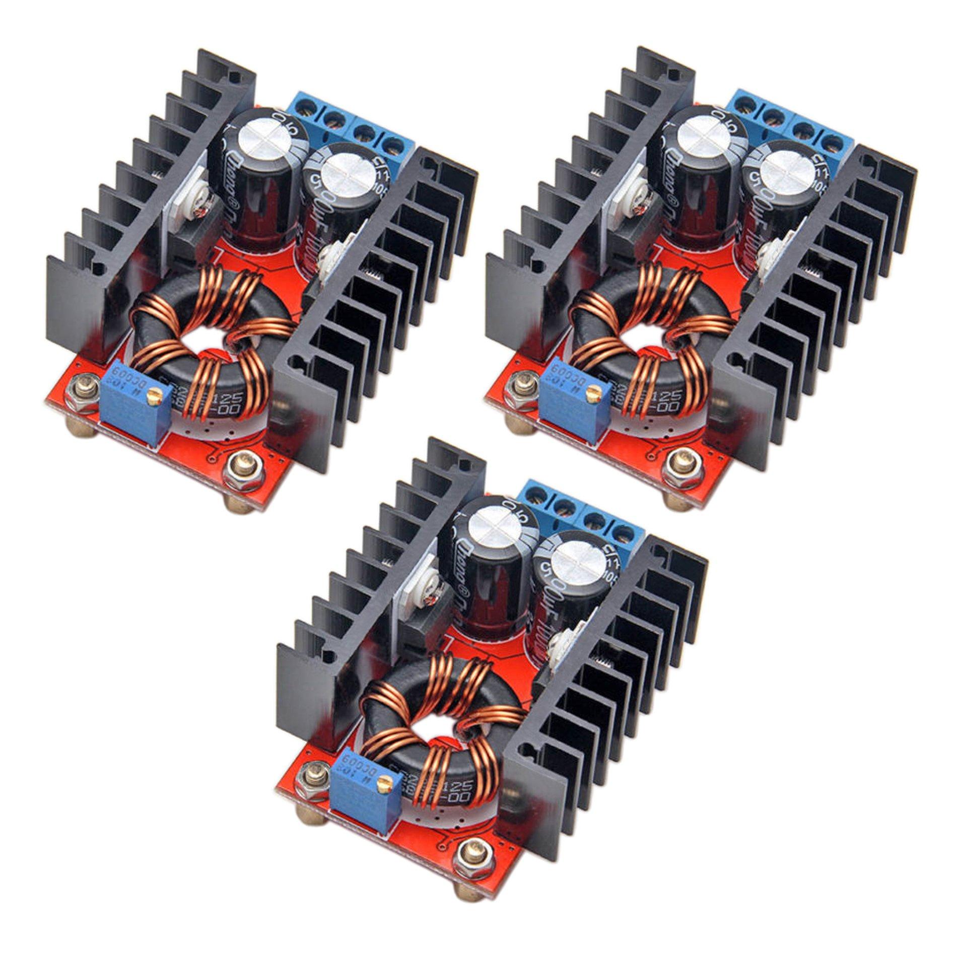 Onyehn 3 Pcs 150W DC-DC 10-32V to 12-35V Step Up Boost Converter Module Adjustable Power Voltage 3 Pack